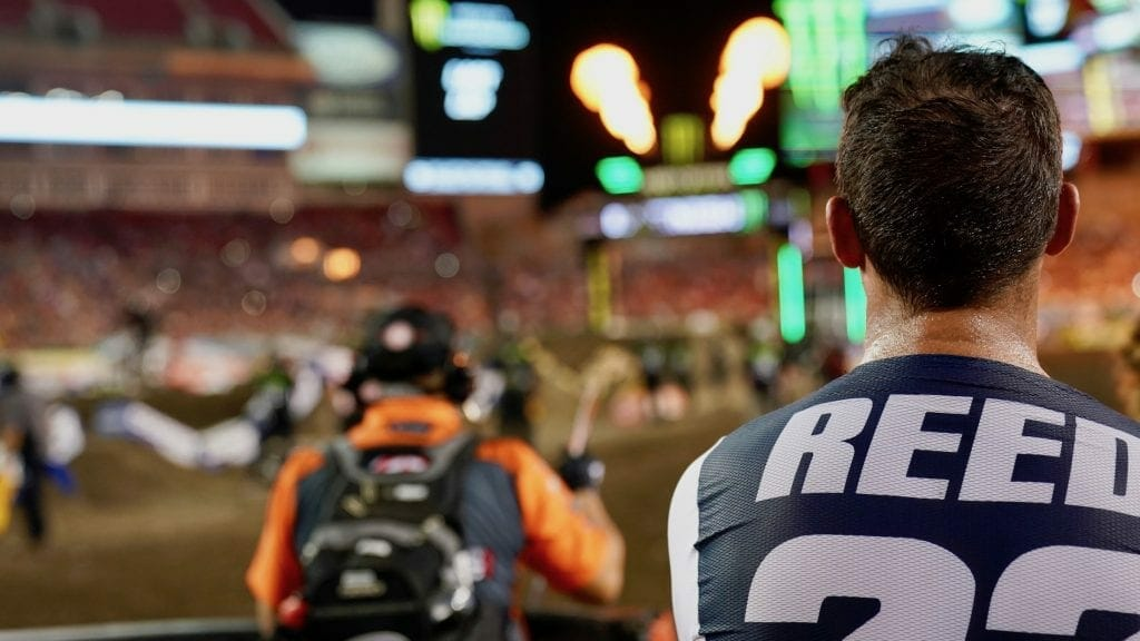 Chad Reed watches the finish, Tampa Supercross, 2018