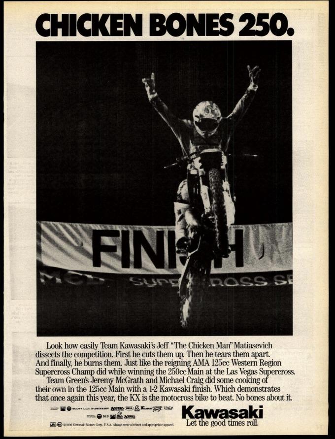 Kawasaki win ad from Jeff Matiasevich's 1990 Las Vegas Supercross victory