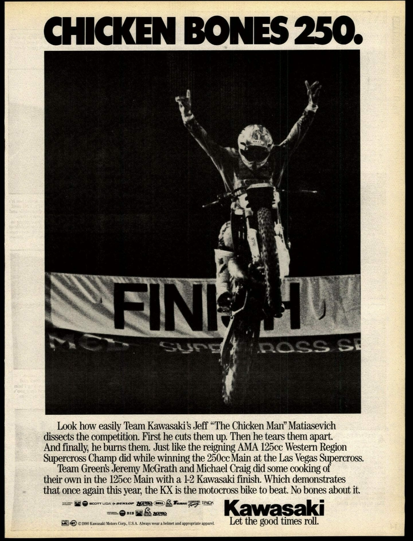 Kawasaki win ad from Jeff Matiasevich's 1990 Las Vegas Supercross victory