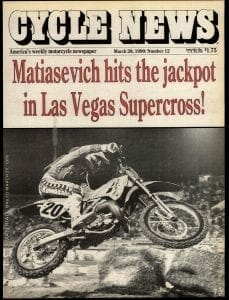 Cycle News Cover: March 28, 1990. Matiasevich wins the Las Vegas Supercross