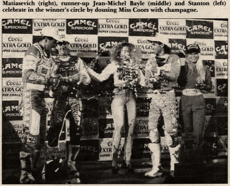 Jeff Matiasevich on the podium at the 1990 Las Vegas Supercross
