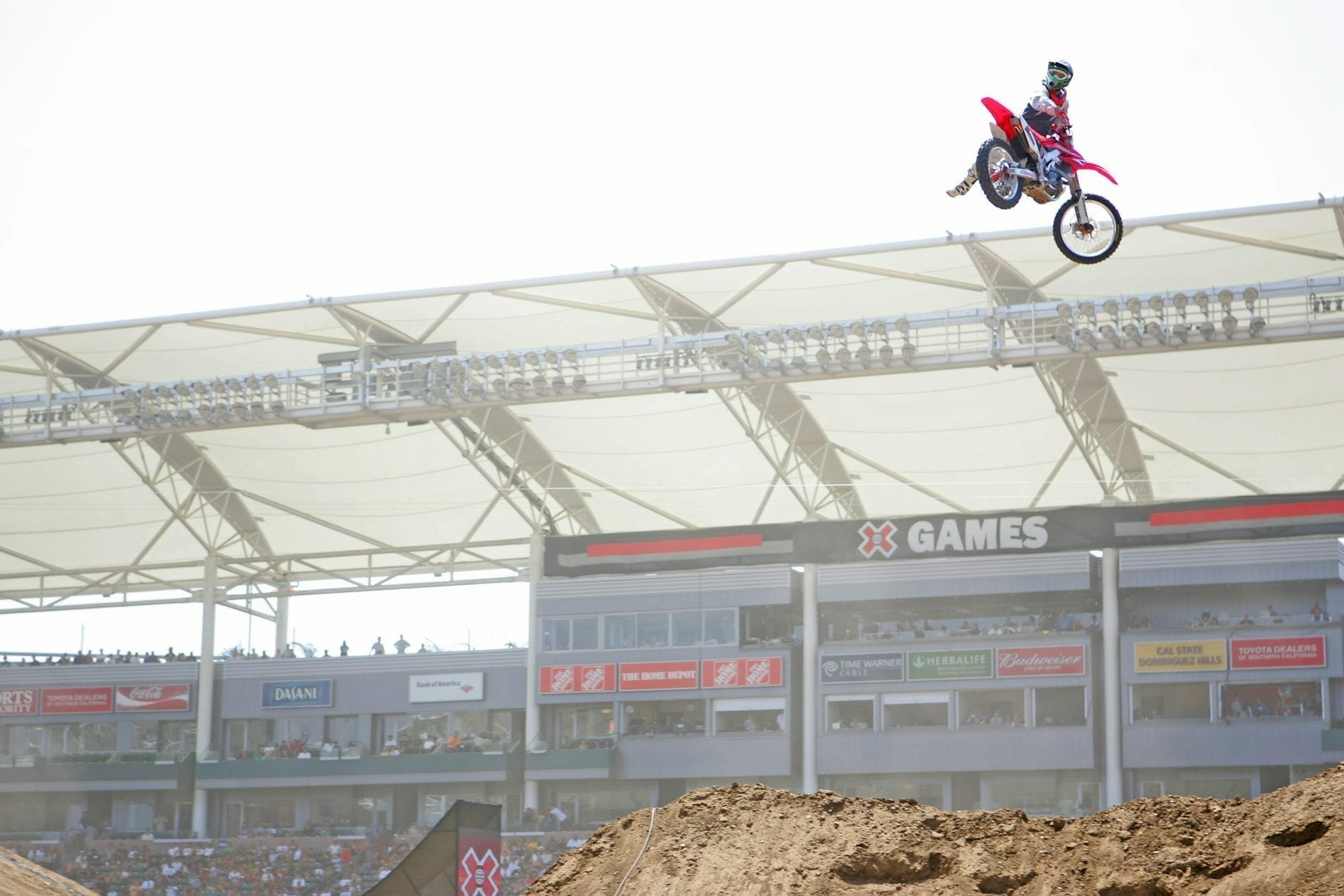 Jeremy McGrath competes in Moto X Racing at X Games LA 2008