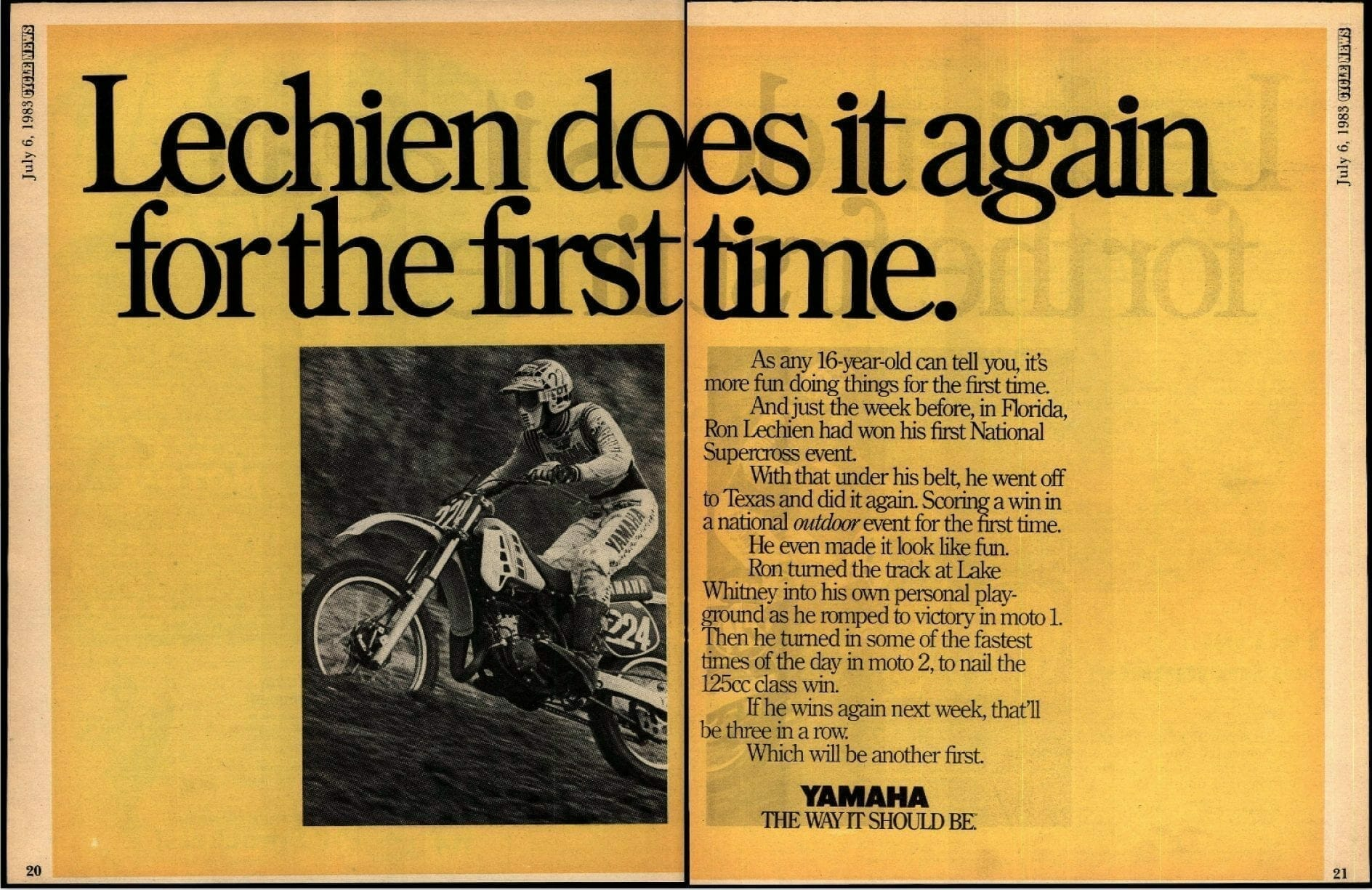 Cycle News win ad 1983 Lake Whitney, Texas
