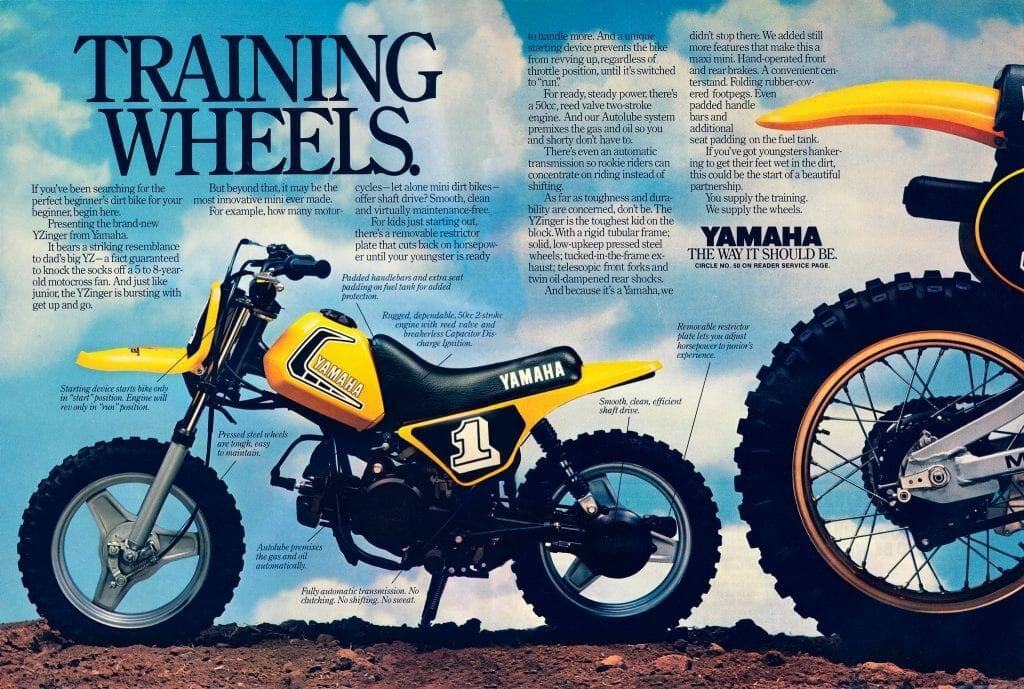1980 Yamaha ad for the new YZinger