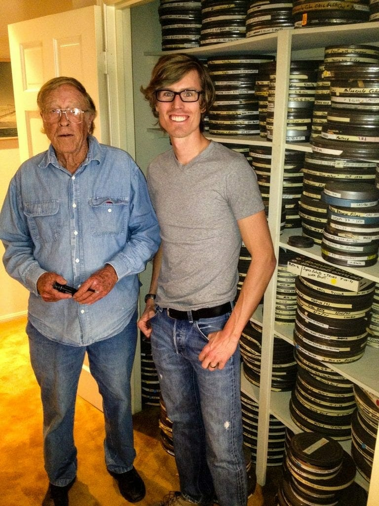"""Bruce Brown and the author, 2012. In the closet behind us are the raw reels from shooting """"On Any Sunday"""""""