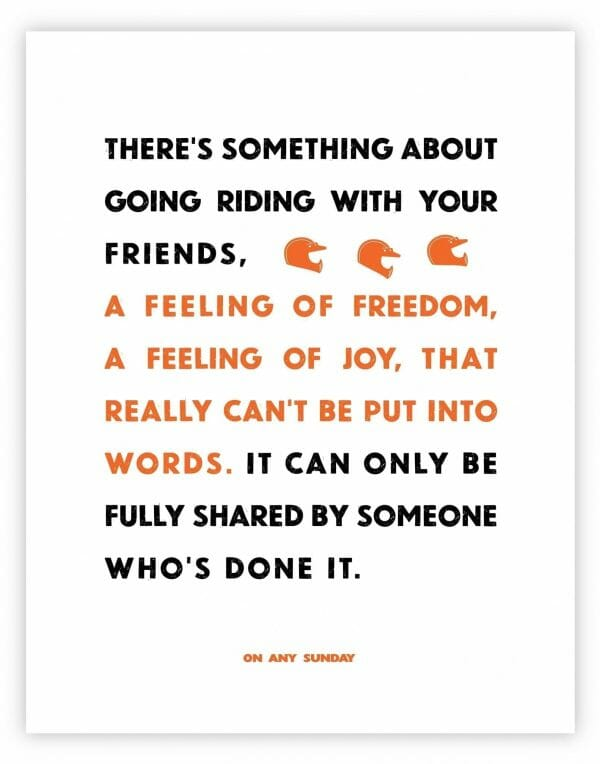 On Any Sunday Quote - Friends - White