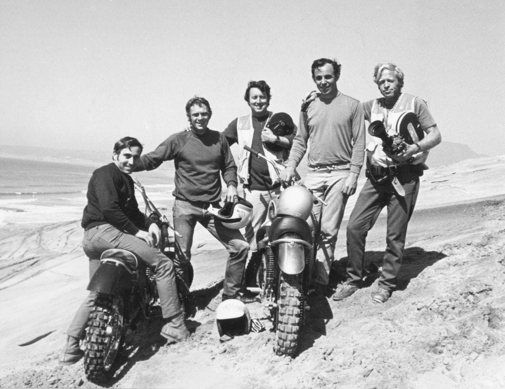 """The crew shooting the final scenes of """"On Any Sunday"""": Mert Lawwill, Steve McQueen, Allan Seymour, Malcolm Smith and Bruce Brown"""