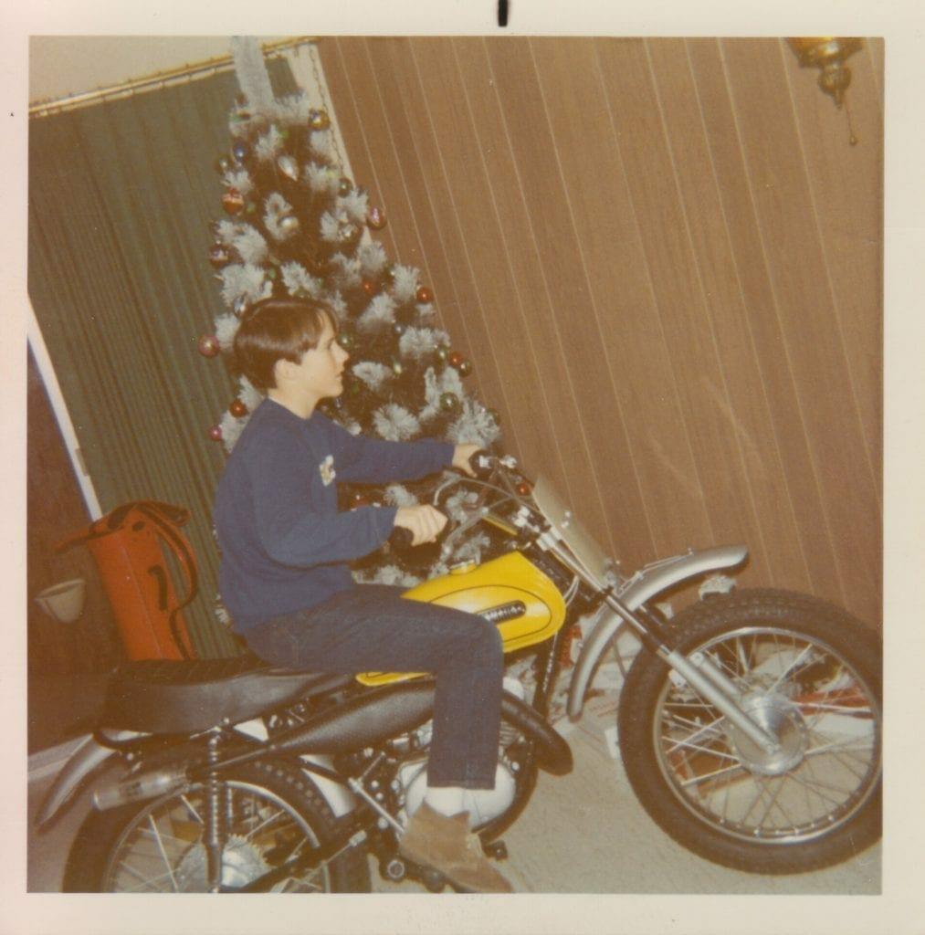 Dan Geery and his Yamaha MX90, Christmas 1971