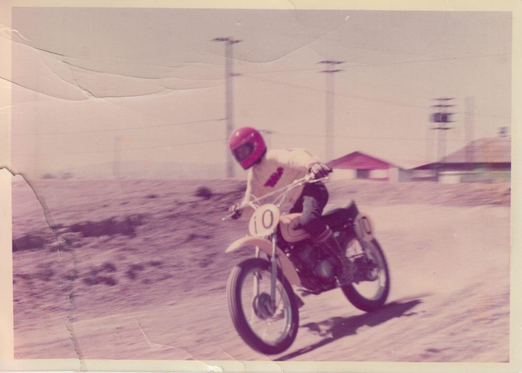Dan Geery Racing his Yamaha MX90 in the summer of 1972