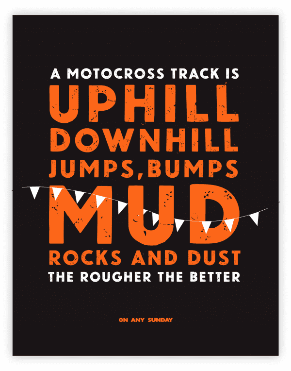 On Any Sunday Quote - Motocross - Black