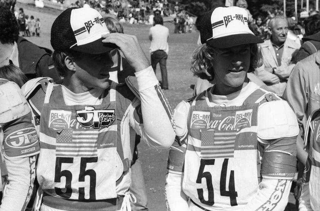 Johnny O'Mara (r) and Danny Laporte, Chuck Sun at the MXoN 1981 in West Germany - Henny Ray Abrams Photo